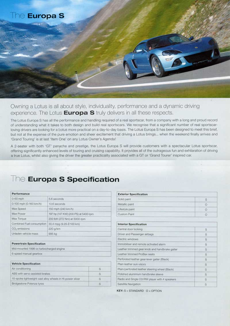 Lotus Elise Brochures and PDFs
